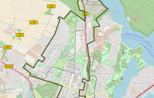 Karte des Entwicklungsbereiches Bornstedter Feld